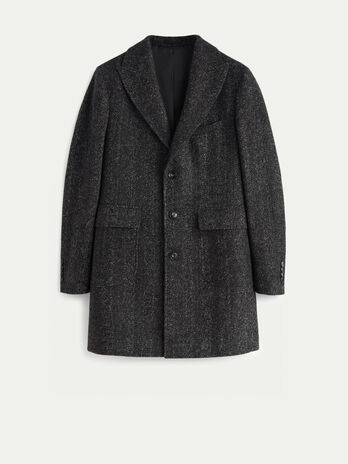 Regular fit wool blend herringbone overcoat