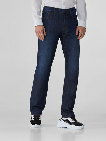 Icon 380 jeans in blue linen and cotton denim