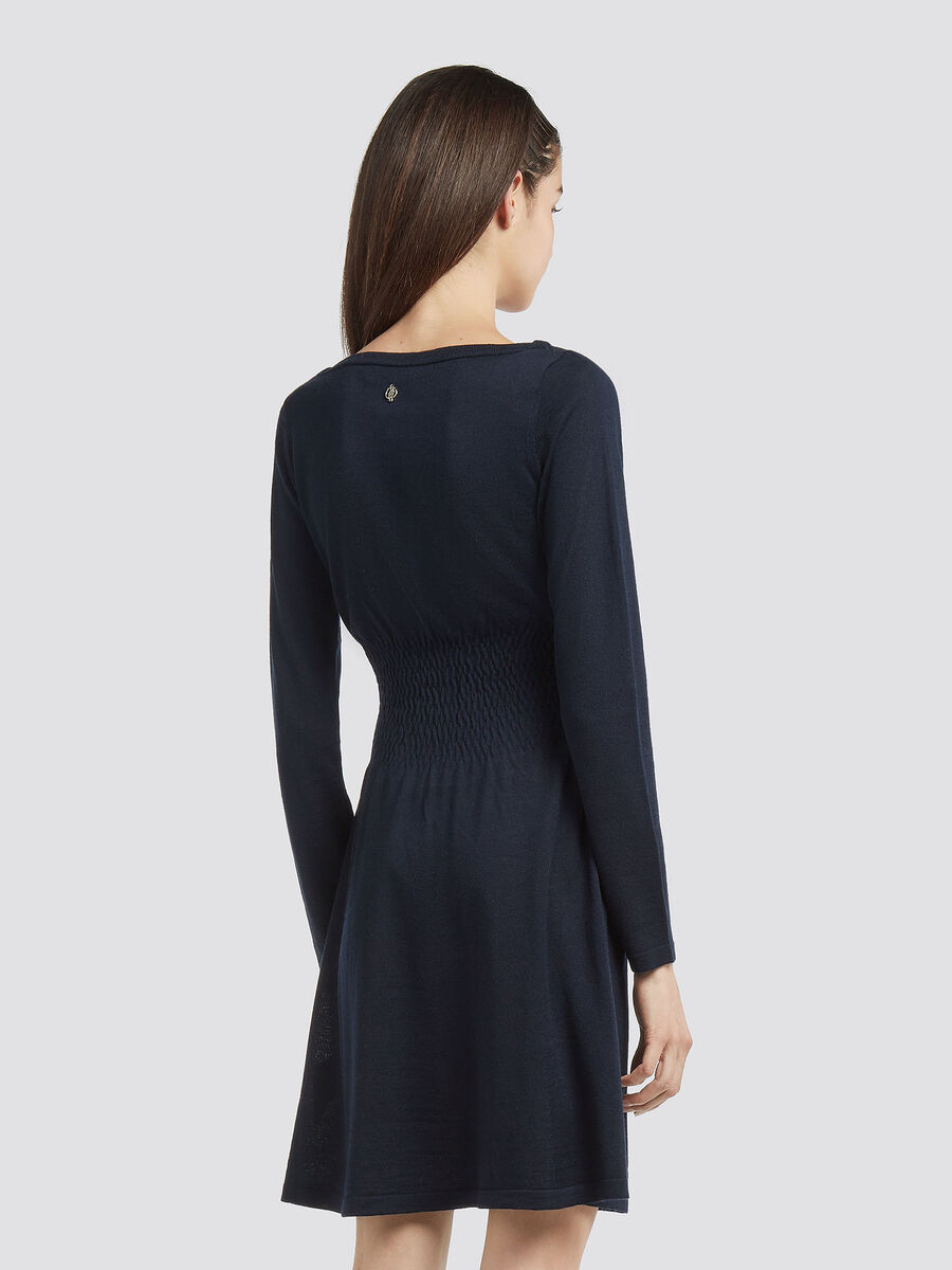 Robe en laine melangee a taille froncee