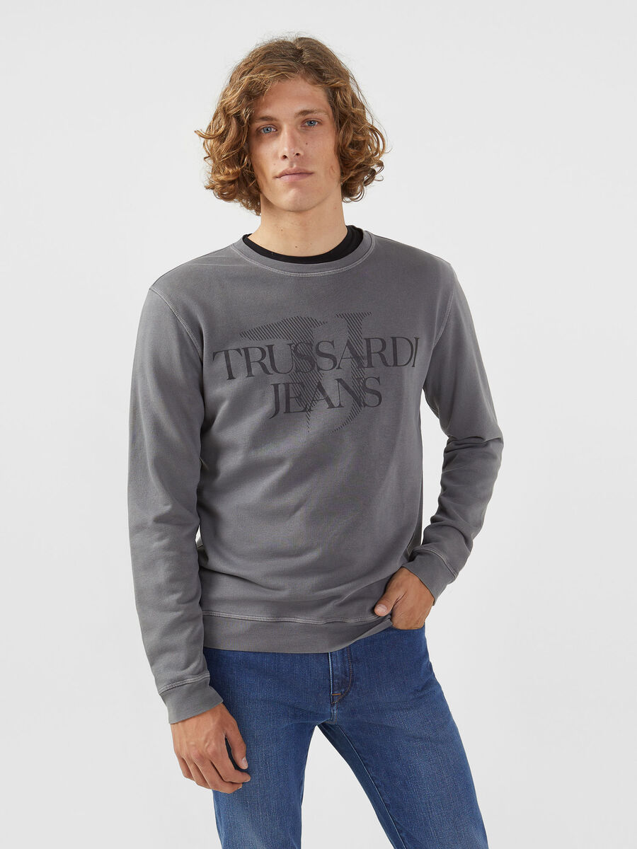 Regular fit cotton sweatshirt with logo print