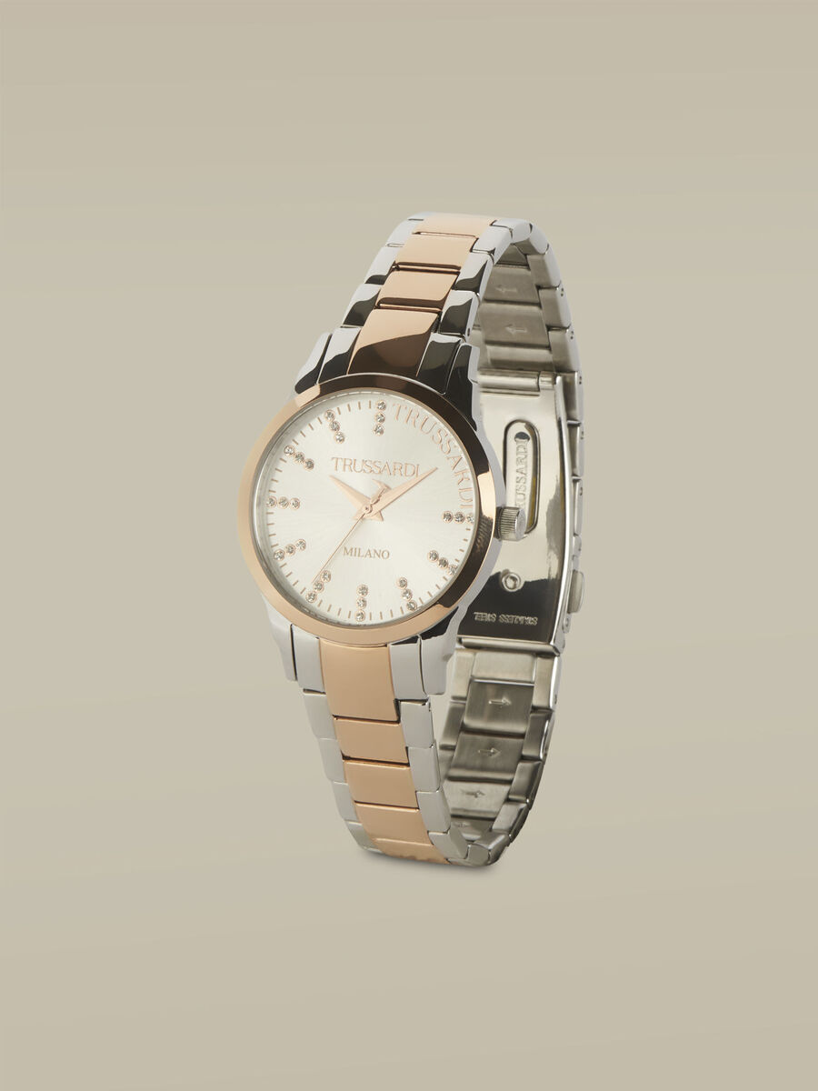 32-MM T-Bent watch with steel strap