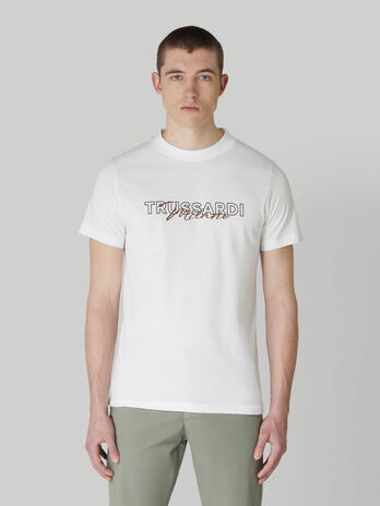 T-shirt regular fit in jersey con stampa lettering