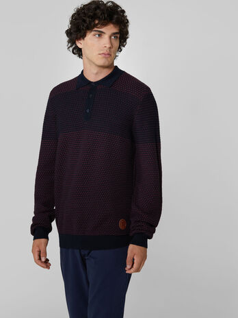 Regular fit wool blend polo style pullover