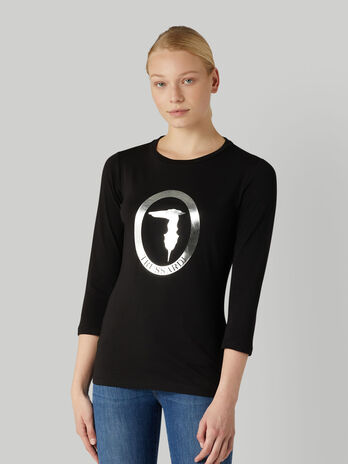 Stretch jersey T-shirt with laminated logo