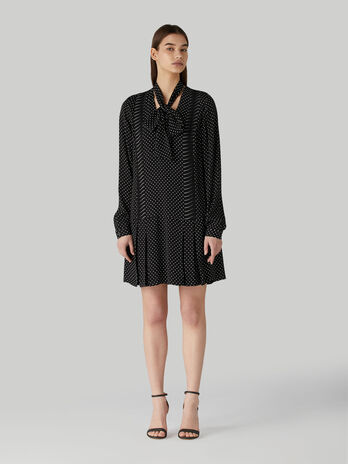 Short viscose dress with polka-dot print and pussy-bow