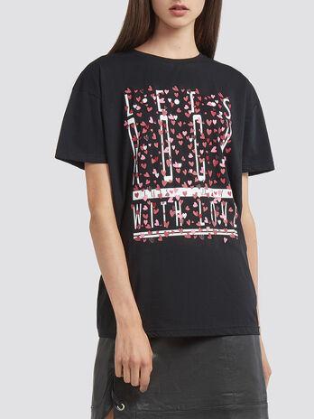 Jersey T Shirt aus reiner Baumwolle mit Print