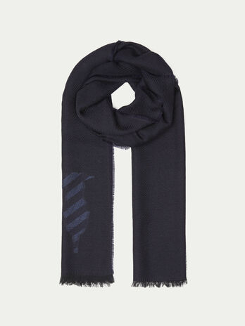 Pure wool scarf with logo embroidery
