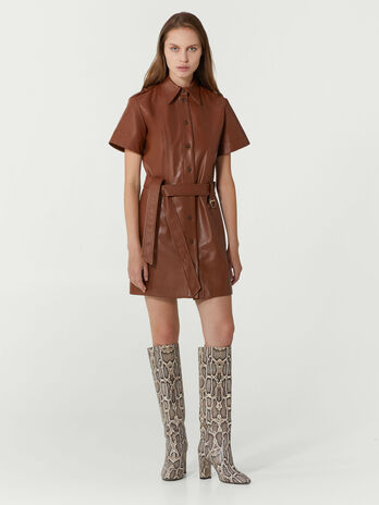 Regular fit leather shirt dress