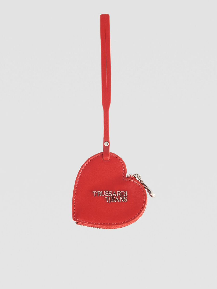 Faux leather heart charm