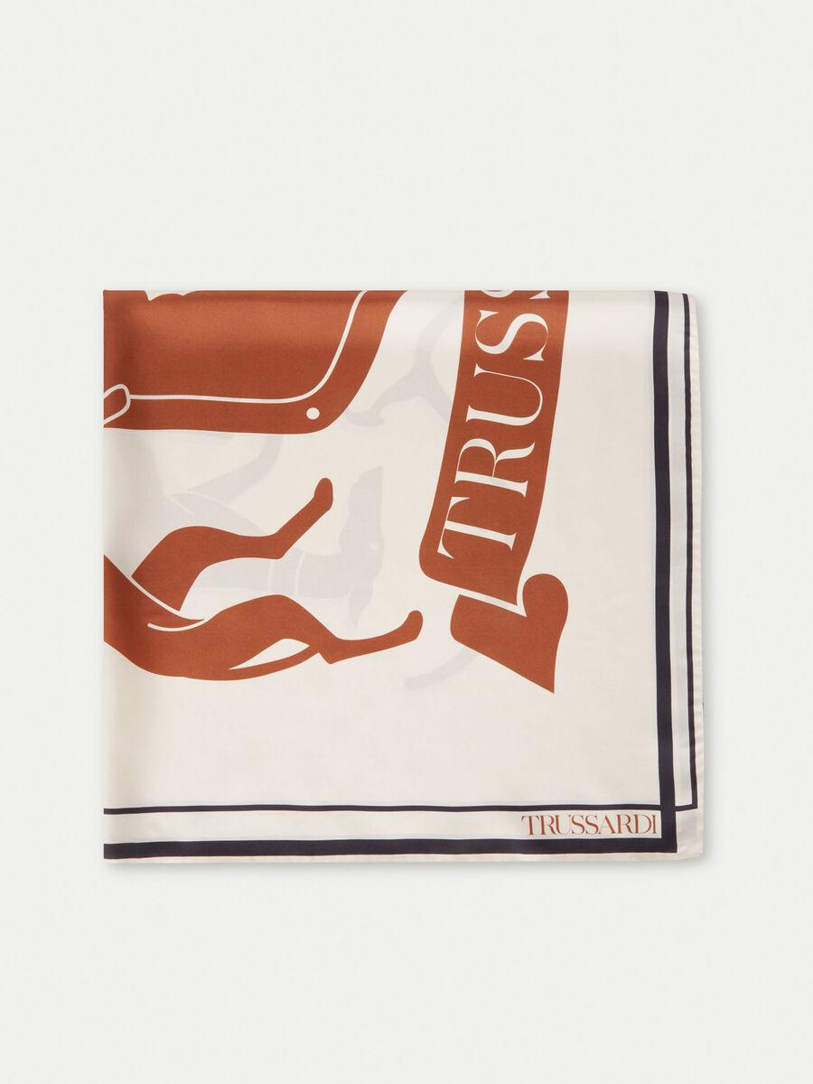 Fular en sarga de seda con logotipo