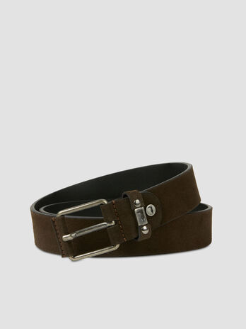 Suede belt with branded belt loop