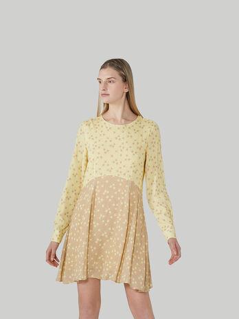 Short floral viscose crepe dress