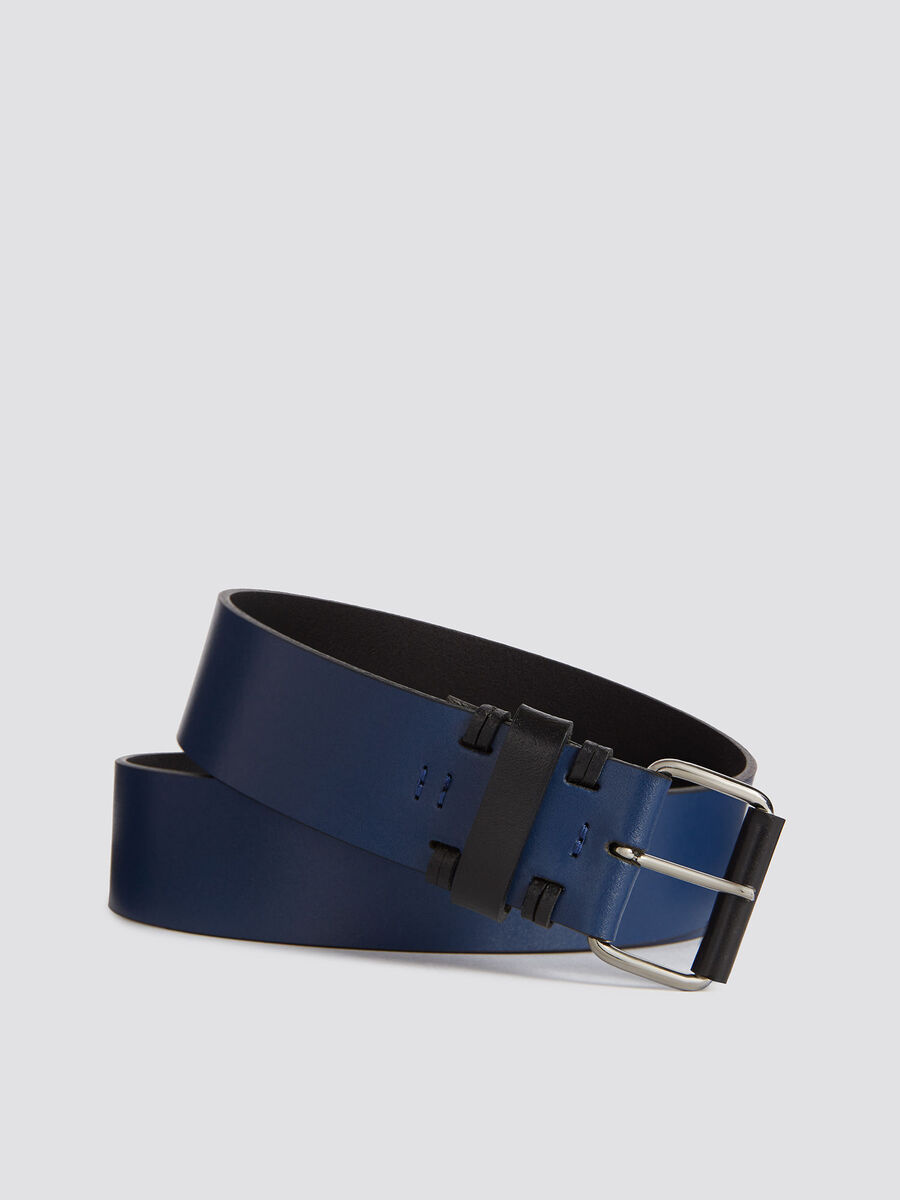 Leather Ticinese belt with two tone details