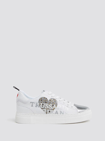 Leather sneakers with rhinestones and embroidery