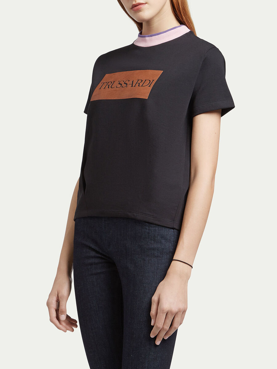 Jersey T shirt with logo insert