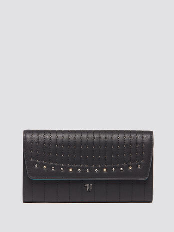 Flap purse with top stitching and studs
