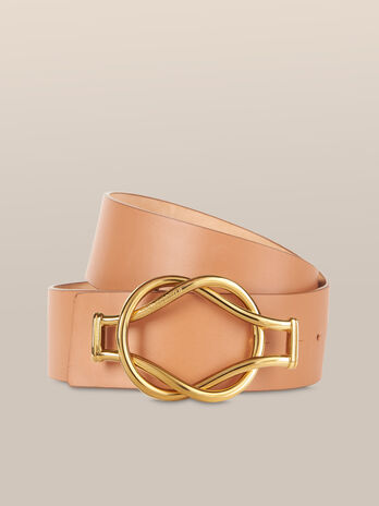 Nappa leather belt with bejewelled buckle