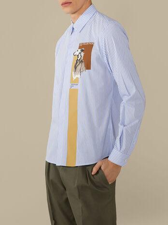 Regular-fit striped poplin shirt