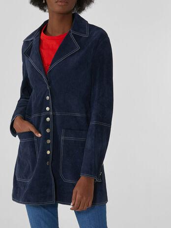 Suede midi jacket