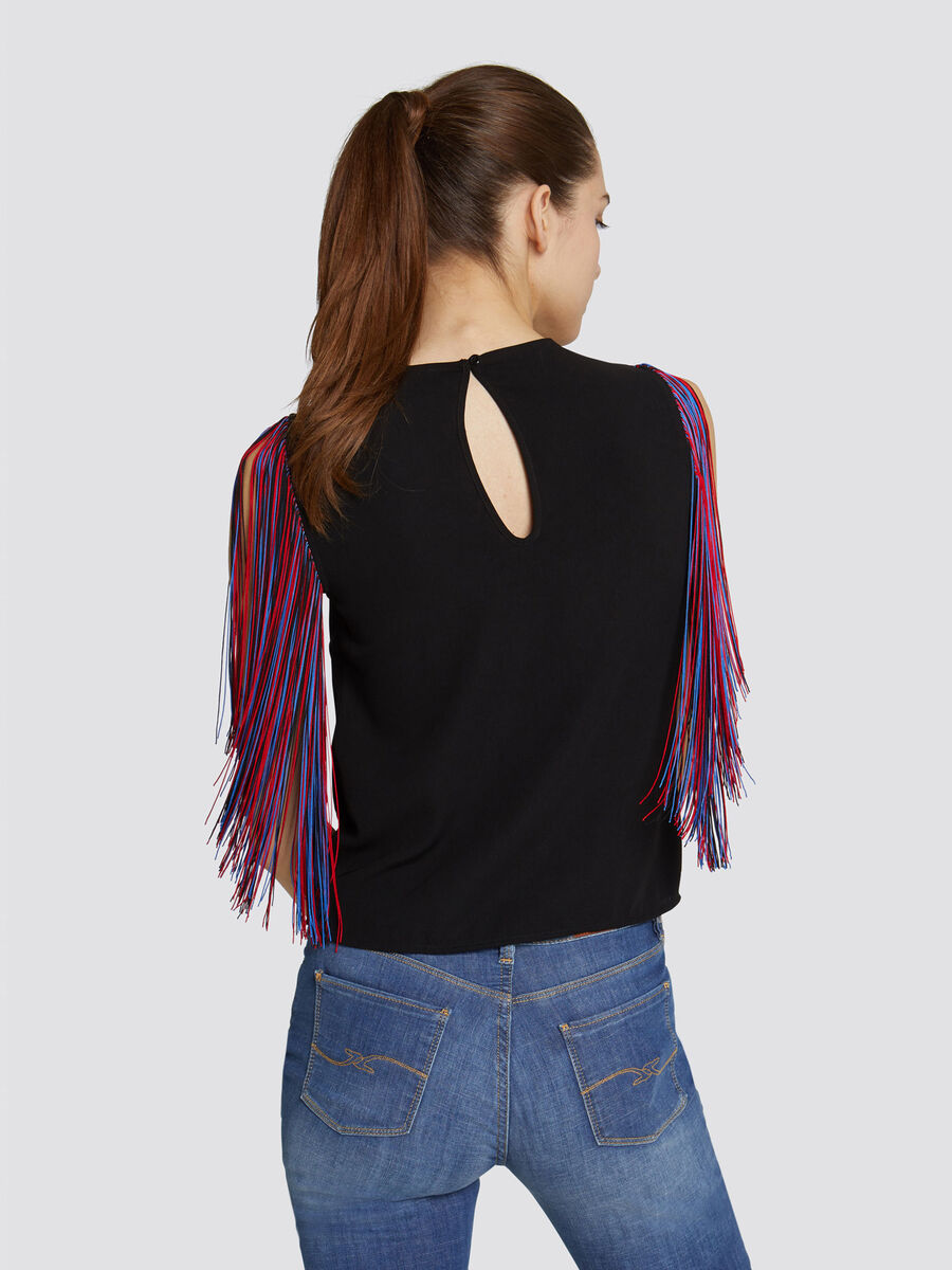 Slim fit blouse with multi coloured micro fringing