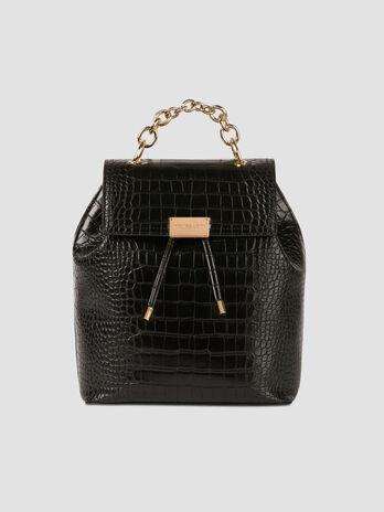 Medium crocodile print faux leather backpack