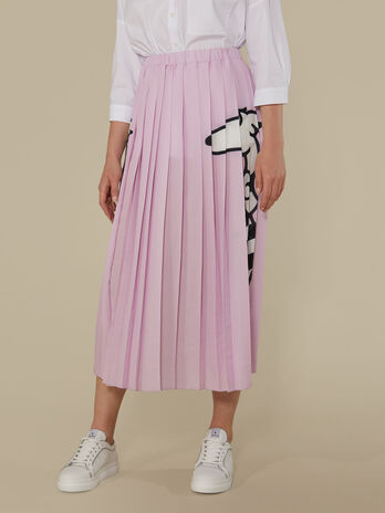 Pleated Georgette skirt with levriero print