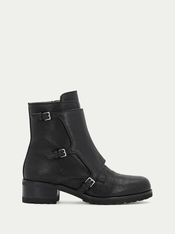 Leather ankle boots with a low heel and buckles