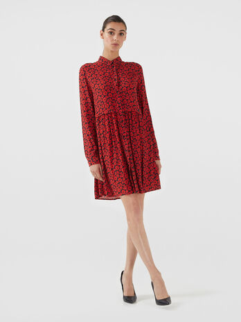 Printed viscose crepe dress