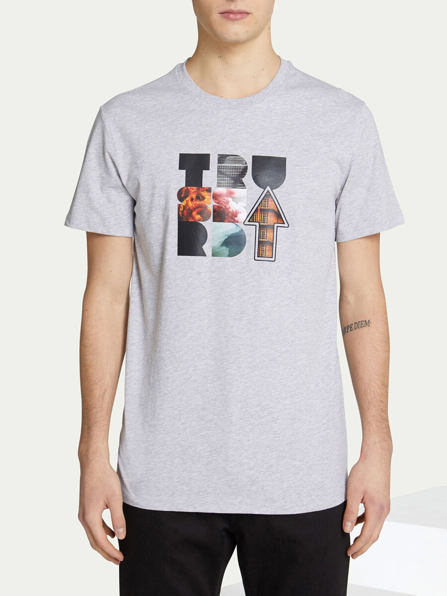Regular Fit T Shirt aus Baumwolljersey mit Logo Print