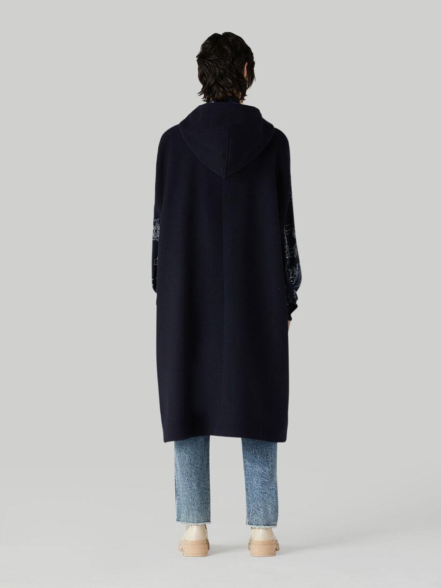 Hooded wool-blend cape
