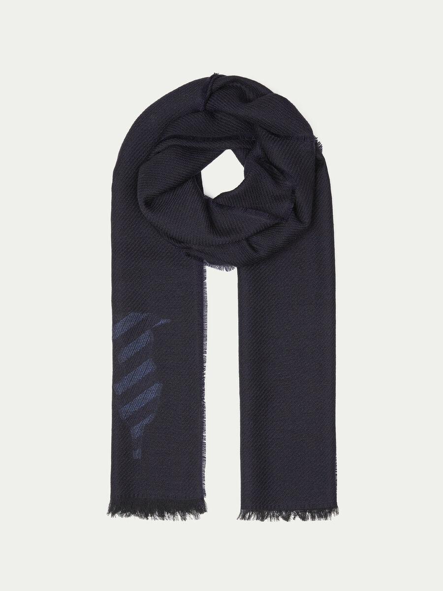 Sciarpa pura lana con ricamo logato