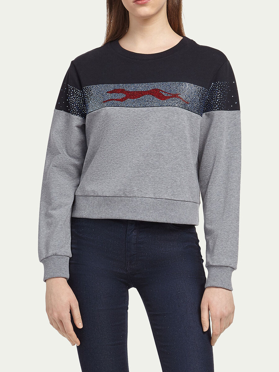 Cropped sweatshirt w rhinestone and running greyhound
