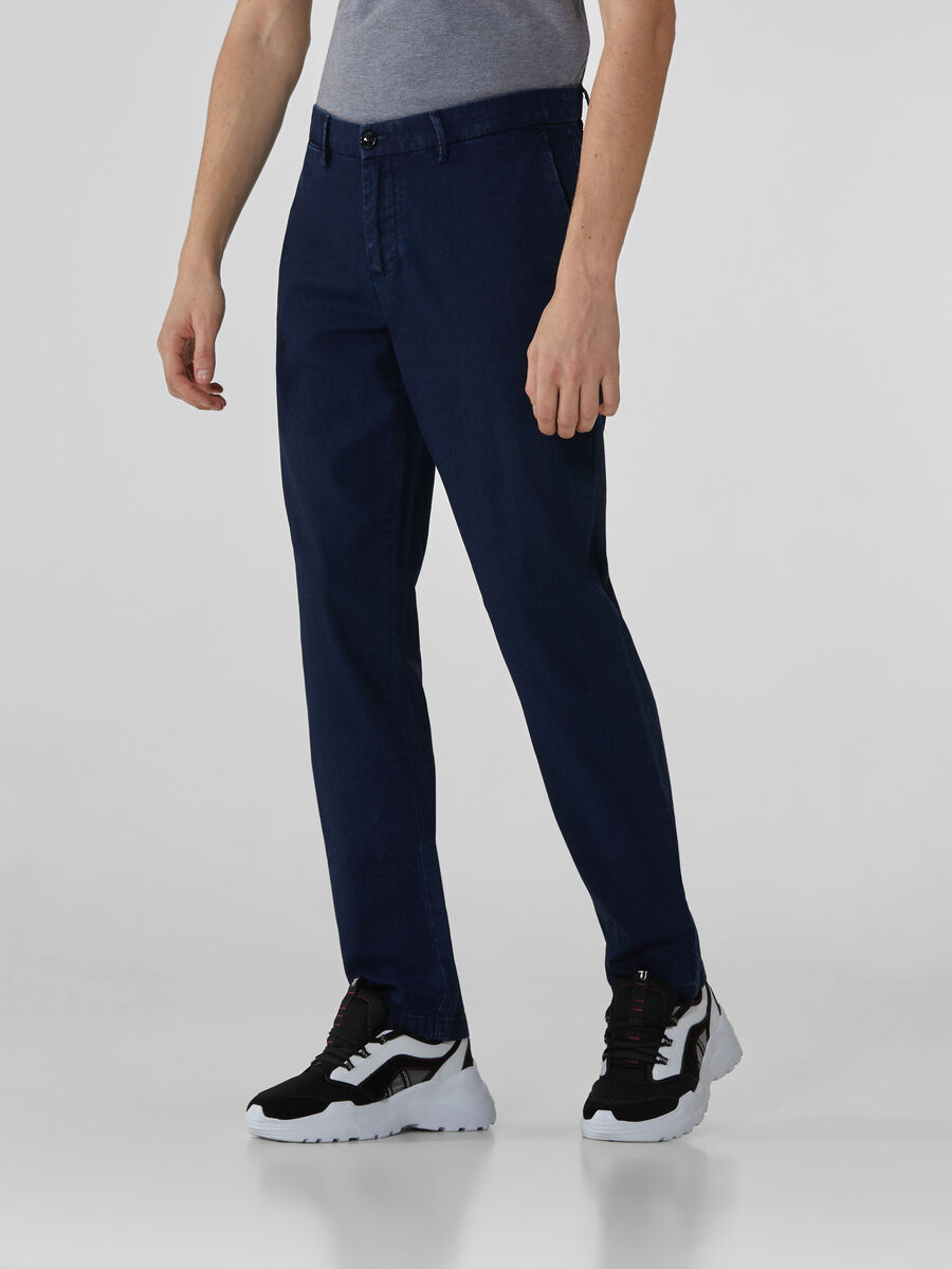 Aviator-fit denim canvas trousers