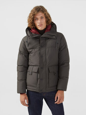 Oversized nylon down jacket with hood