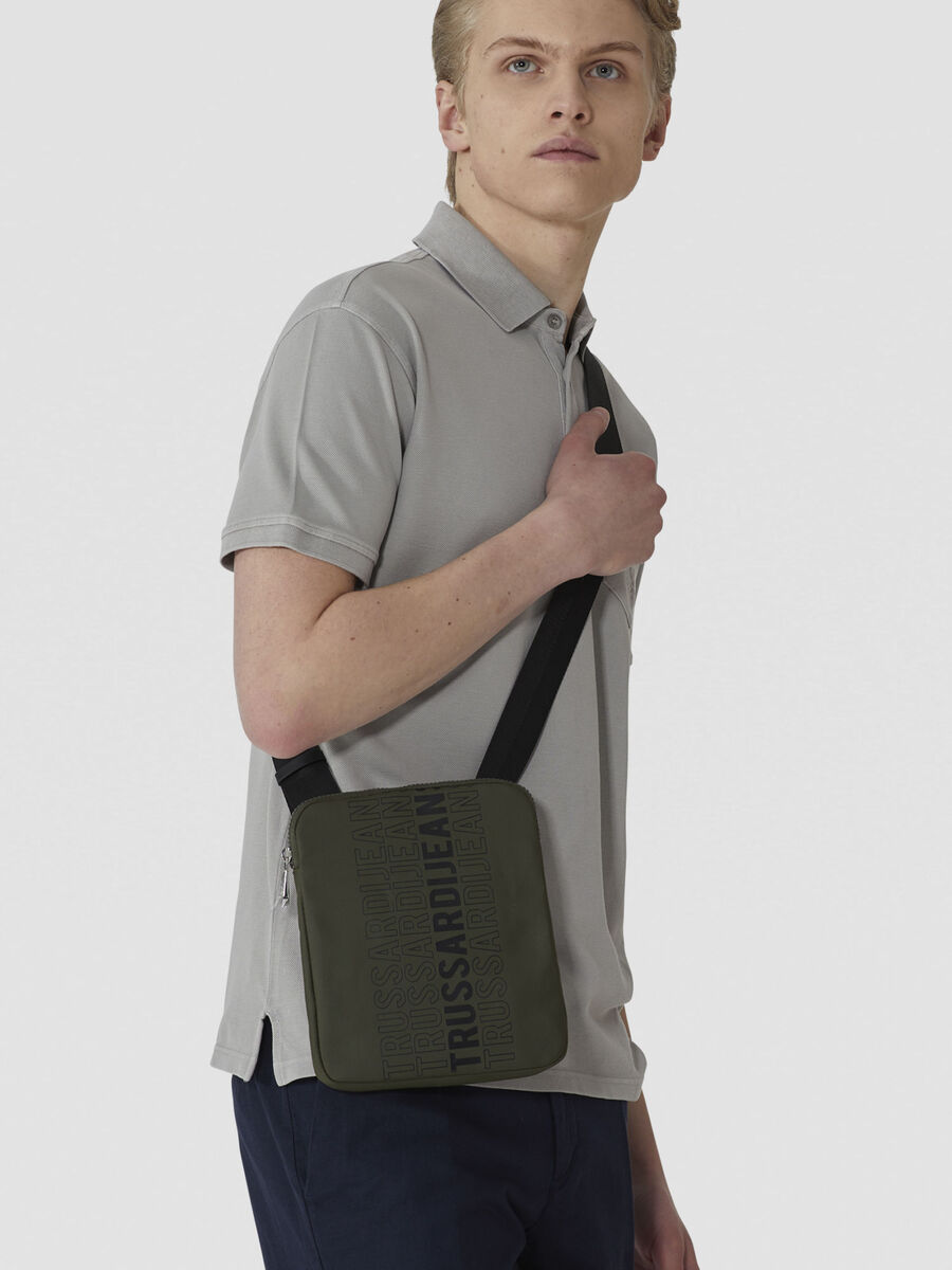 Small canvas reporter bag with logo