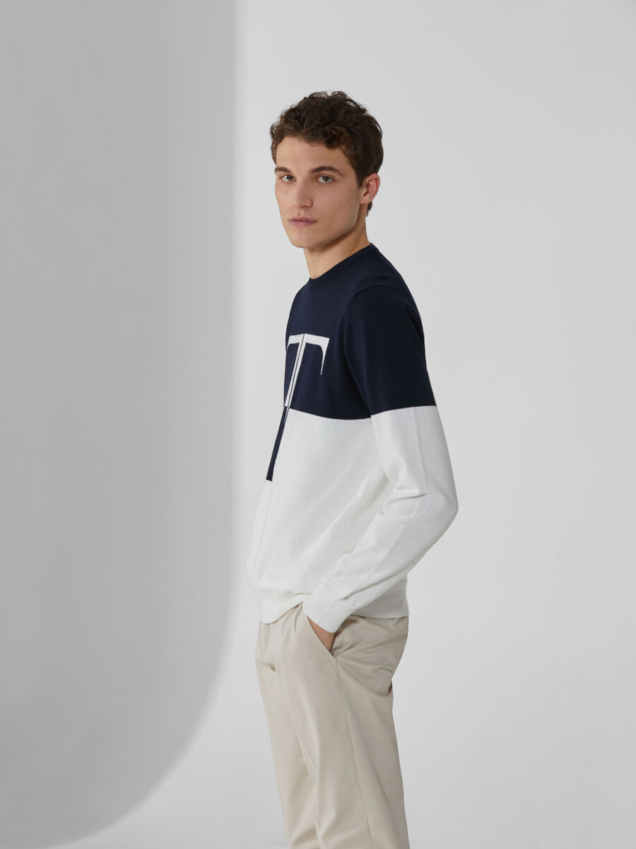 Two-tone cotton crew-neck pullover