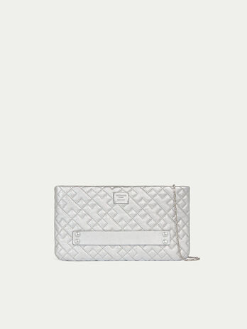 Quilted laminated nappa clutch with shoulder strap