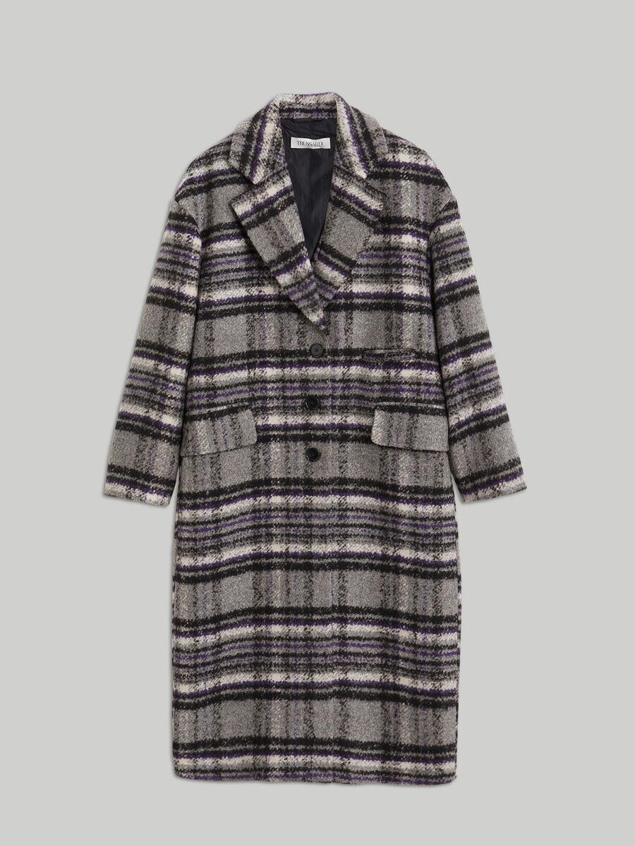 Manteau en laine melangee a carreaux