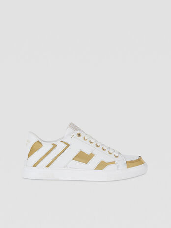 Faux leather sneakers with mirrored details