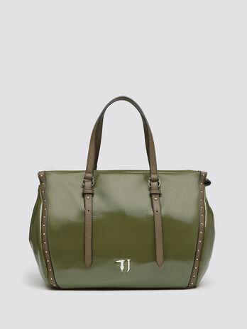 Patent look Portulaca shopping bag