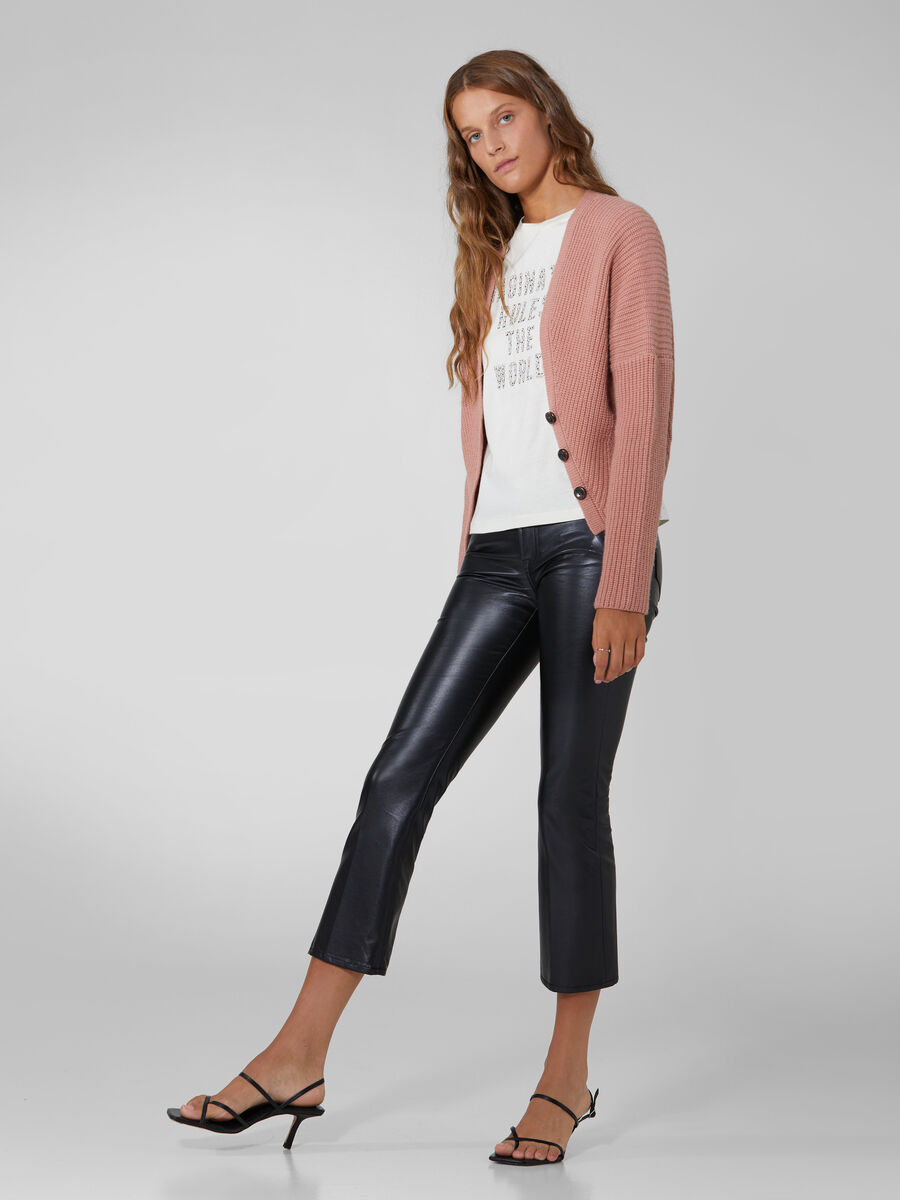 Stretchy faux leather Kick trousers