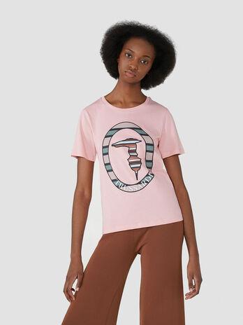 T-shirt coupe classique en coton avec monogramme