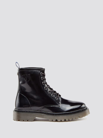 Ecoleather combat boots with laces