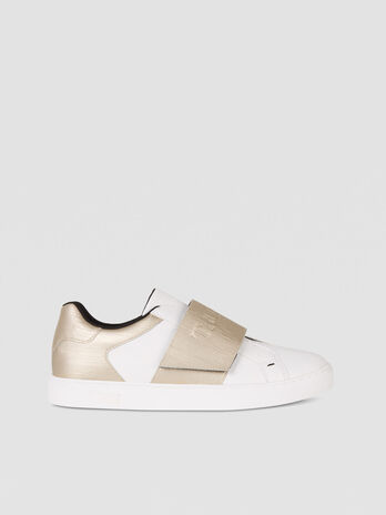 Faux leather sneakers with branded strap