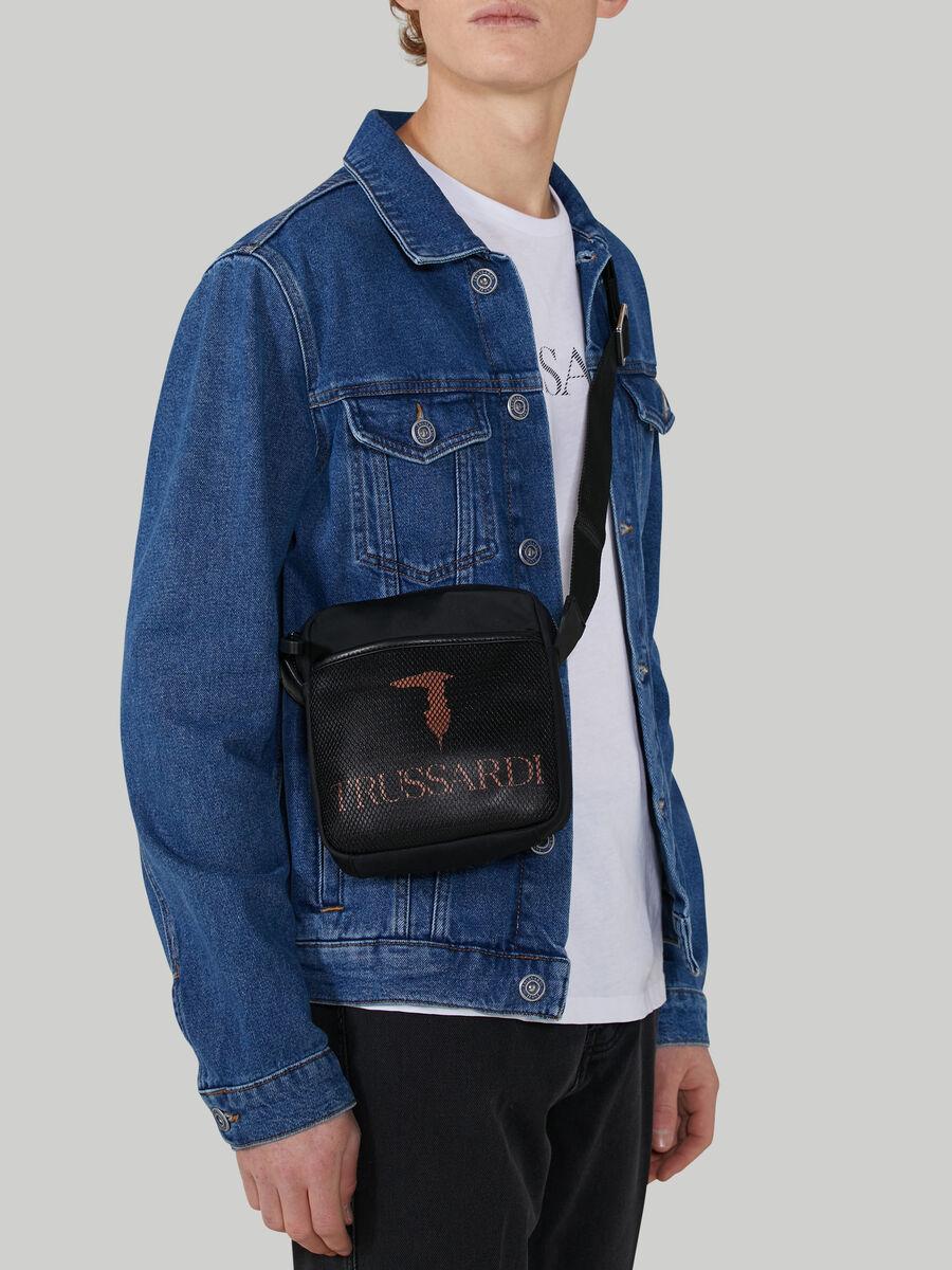 Nylon shoulder bag with logo detail
