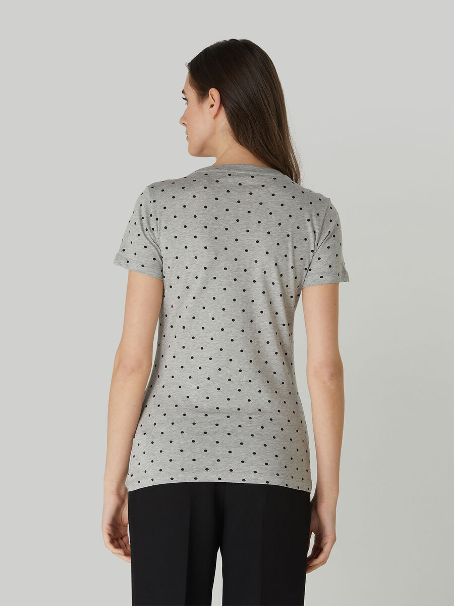 T-shirt slim fit in jersey di cotone a pois