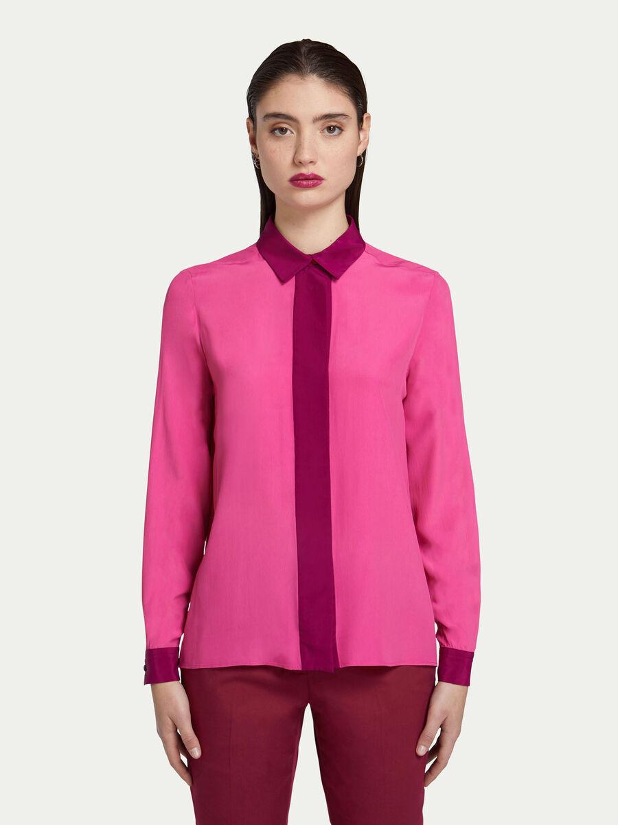 Camicia regular fit in crepe bicolore