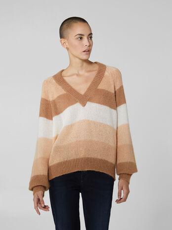 Pullover mit V Ausschnitt aus Mohair Mix