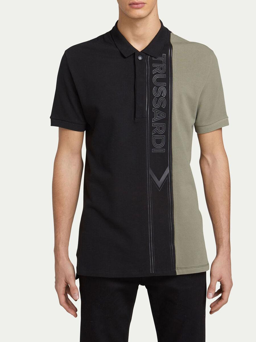 Regular Fit Poloshirt aus zweifarbigem Pique mit Logo