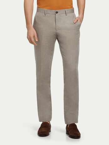 Linen and cotton trousers with crease
